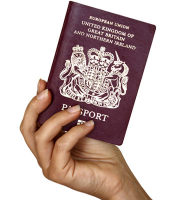 Hand with UK passport