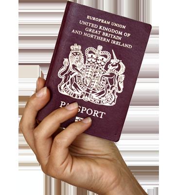 Hand with UK passport